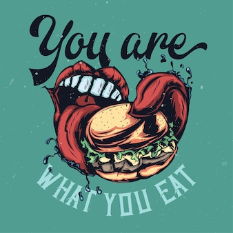 Illustration of big mouth eating big burger with lettering