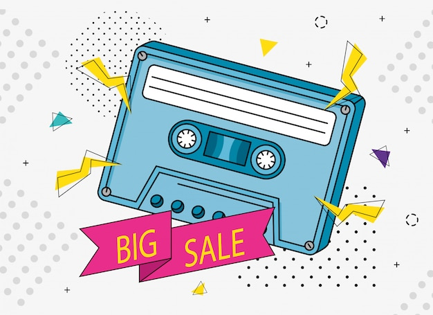 Illustration of big sale with cassette of nineties