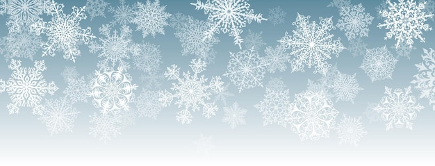 Illustration of big white complex christmas snowflakes on gray background
