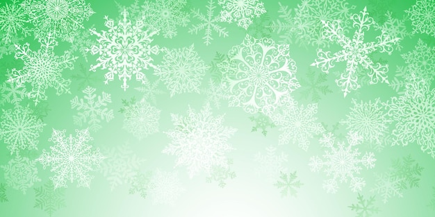 Illustration of big white complex christmas snowflakes on green background