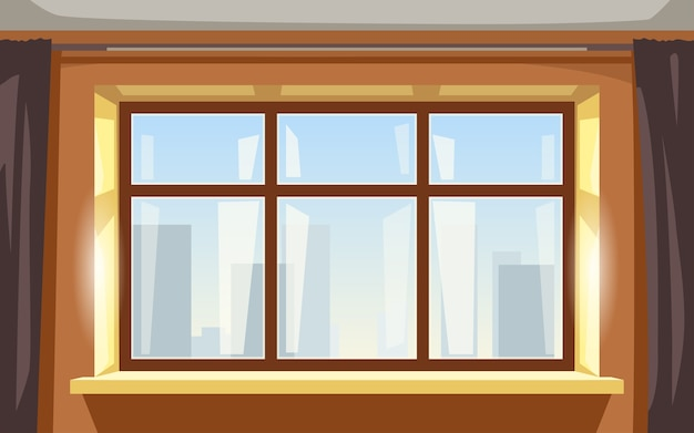 Illustration of big window yellow bright apartment interior front view
