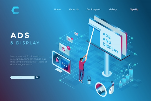 Illustration of billboard advertisements in isometric 3d style