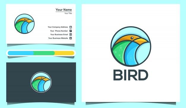 Illustration   bird logo and business card design template.