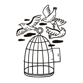 Illustration of a birds flying out of the cage. black and white