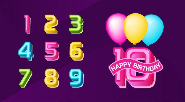 Illustration of birthday number