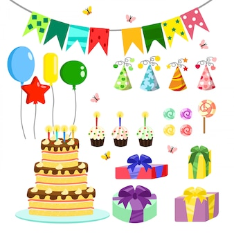 Illustration birthday party colorful accessories and decoration, sweet treats, cakes, balloons, candies, gifts in  cartoon style.