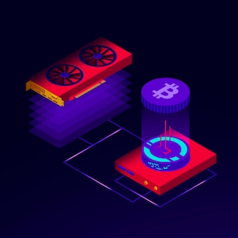 Illustration of bitcoin mining farm and blockchain big data processing