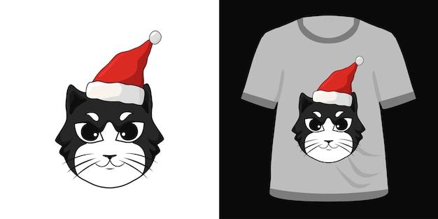 Иллюстрация черная кошка санта-шляпа для дизайна футболки