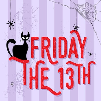 An illustration of black cat with friday the 13th word.