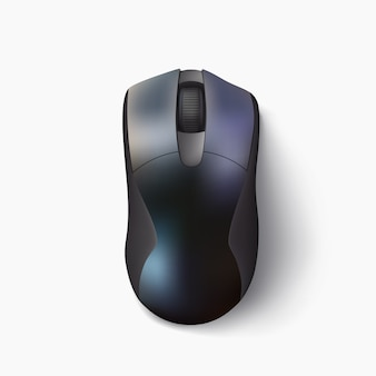 Illustration of black color shiny modern computer mouse above view with realistic shadow on white background