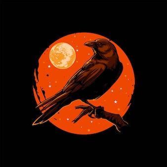 Illustration of black crow hallowen