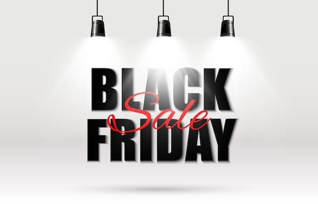 Illustration of black friday sale banner on transparent background.