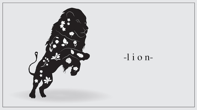 Illustration of a black lion with white plants and flowers on the body