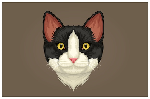 Illustration of black nosed white cat