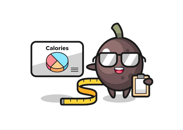 Illustration of black olive mascot as a dietitian , cute style design for t shirt, sticker, logo element