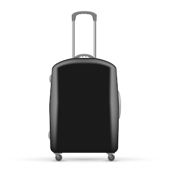 Illustration of black travel bag. front view