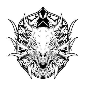 Illustration of  black and white hand drawn dragon head