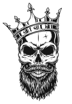 Illustration of black and white skull in crown with beard