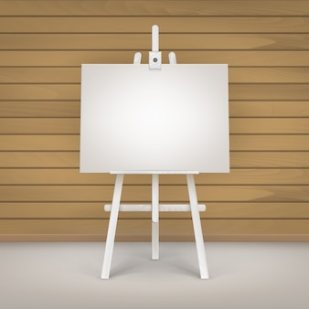 Illustration of blank canvas on easel
