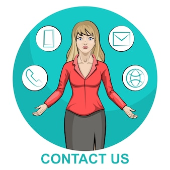 Illustration of a blond business woman character with infographic contact us
