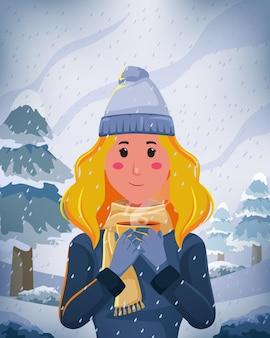 삽화 금발의 여성은 겨울철 자연 경관 장면에서 커피 컵을 들고 재킷 스카프를 사용합니다.