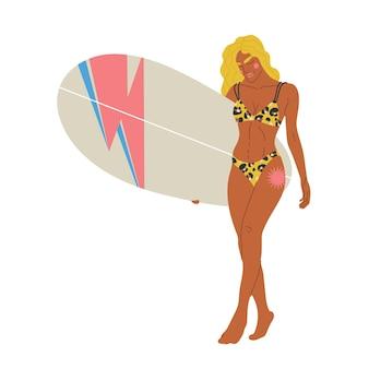ロングボードを保持しているイラスト金髪の少女
