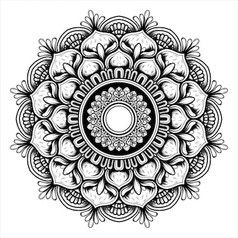 Illustration of a blooming flower with a mandala pattern