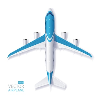Illustration blue airplane with space for text isolated on a white background.
