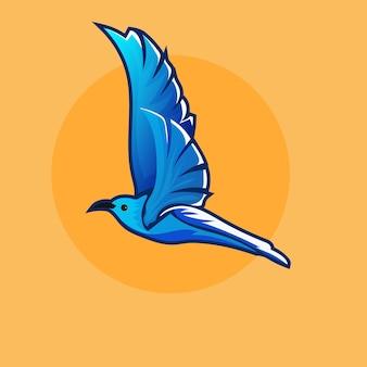 Illustration of blue birds hand drawn illustration