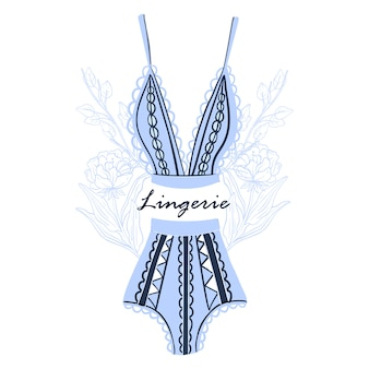 Illustration in blue colors with lingerie and elegant flowers isolated