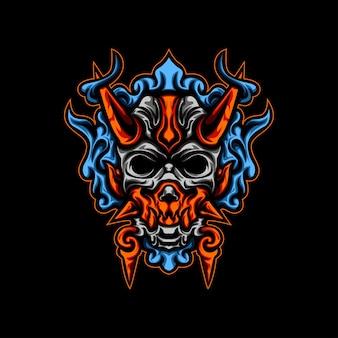 イラスト青い火の悪魔