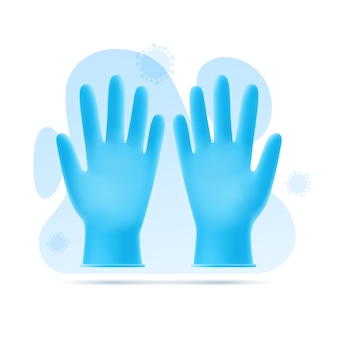 Illustration of blue latex gloves on background of abstract shapes and virus