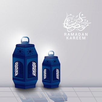 Illustration of blue lattern on white background for ramadan