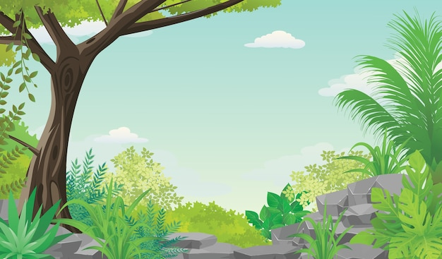 Illustration of blue sky view from tropical lush forest