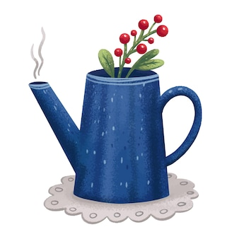 Illustration blue teapot with herbs and berries with tea