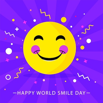 Illustration of blushing smiley emoji and confetti