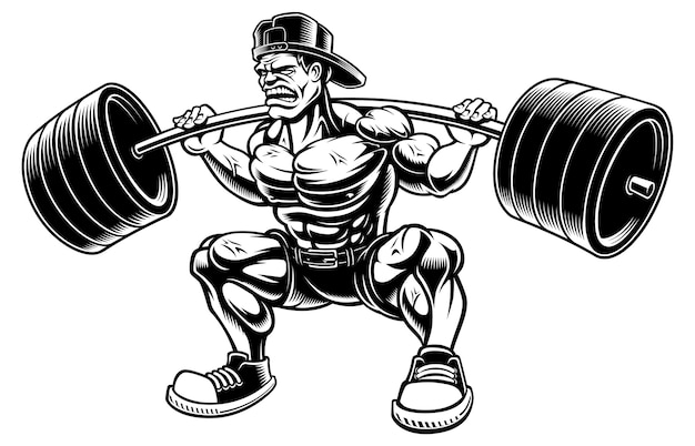 Illustration of bodybuilder doing squats with barbell,  on the white background.