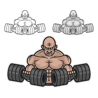 Illustration bodybuilder with dumbbells, format eps 10