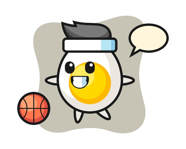 Illustration of boiled egg cartoon is playing basketball
