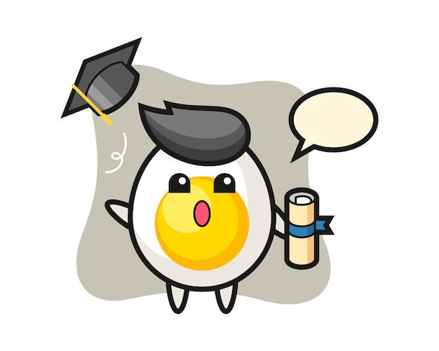 Illustration of boiled egg cartoon throwing the hat at graduation