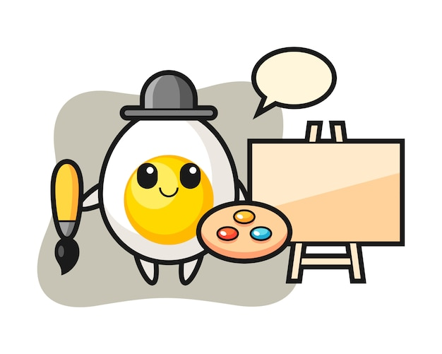 Illustration of boiled egg mascot as a painter