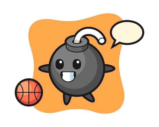 Illustration of bomb cartoon is playing basketball