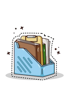 Illustration of book shelf hand drawing