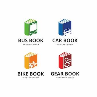 Иллюстрация книжного транспорта с carbusbike и шестернями над дизайном знака