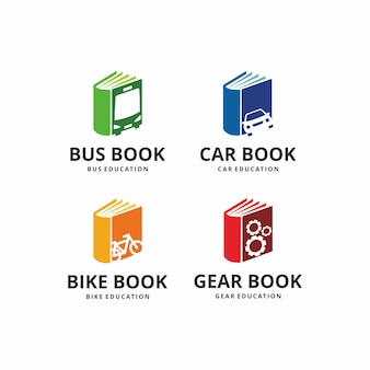 Illustration book transportation with carbusbike and gears over sign design