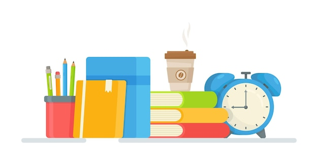 Illustration of books, preparing for exams.