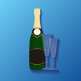 Illustration of a bottle of champagne and glasses for your creat