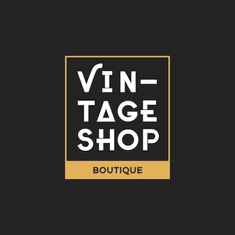 Illustration of boutique shop logo stamp banner