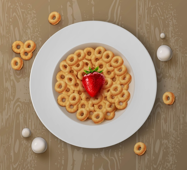 Illustration of bowl with breakfast cereals corn rings and fresh strawberries on wooden table