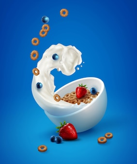 Illustration of bowl with corn rings in milk splash and fresh berries